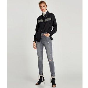 Zara grey distressed  jeans frayed hems zippers